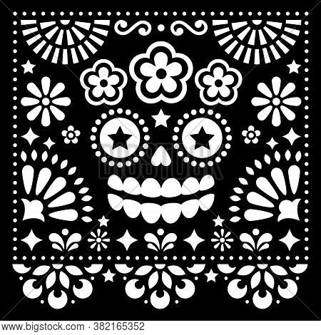 Mexican Folk Art Vector Folk Art Design With Sugar Skull And Flowers, Halloween And Day Of The Dead
