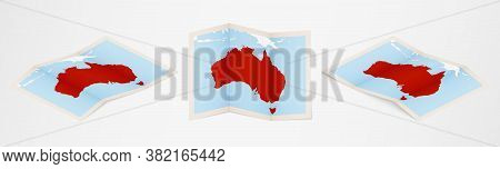 Folded Map Of Australia In Three Different Versions. Vector Map Of Australia.
