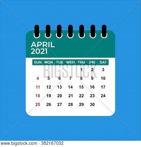 April 2021 Calendar. Calendar April 2021. April 2021 Calendar Vector Illustration. Wall Desk Calenda