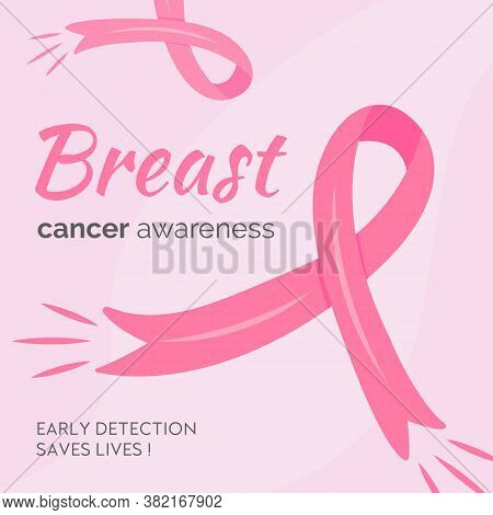 Breast Cancer Awareness Month Banner Template With Pink Cartoon Ribbons. Mammary Cancer Solidarity C