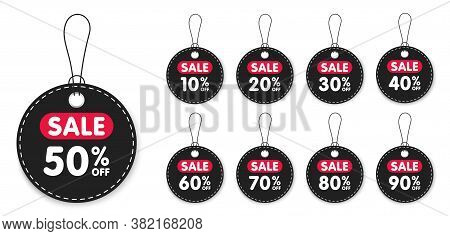 Set Of Sale Tags And Labels, Template Shopping Labels. Blank, Discount And Price Tags On Paper. Spec