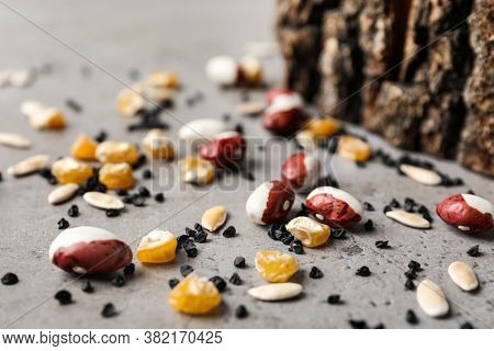 Mixed Vegetable Seeds On Grey Background, Closeup