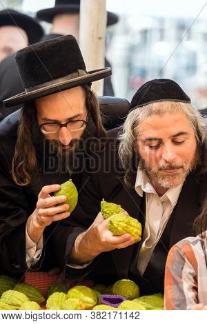 JERUSALEM, ISRAEL - SEPTEMBER 20, 2018: Pre-holiday bazaar in Jerusalem on the eve of Sukkot. The concept of photo tourism. Religious young Jews choose etrog - the fruit of  magnificent tree