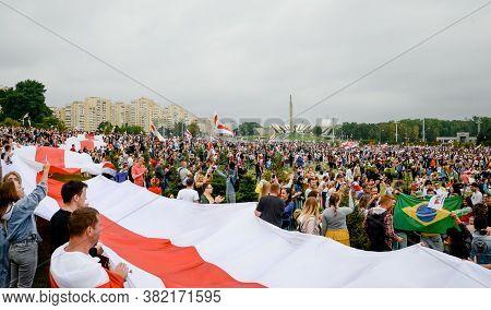 Minsk, Belarus - August 23, 2020: Belarusian People Participate In Peaceful Protest After Presidenti