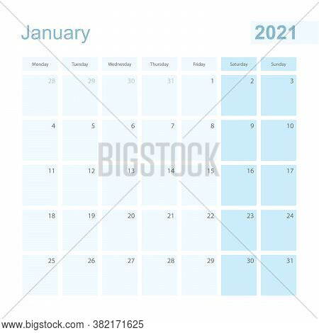2021 January Wall Planner In Blue Pastel Color, Week Starts On Monday. Calendar For January 2021 Wit