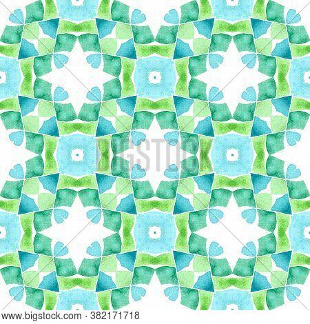 Watercolor Ikat Repeating Tile Border. Green Marvelous Boho Chic Summer Design. Ikat Repeating  Swim