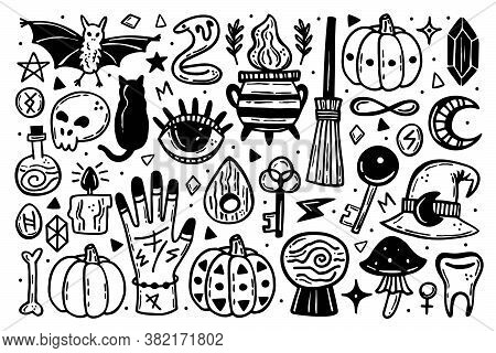 Halloween Clip Art, Set Of Elements. Holiday Ink Stamps, Silhouettes. Eye, Black Cat, Bat, Witch Hat