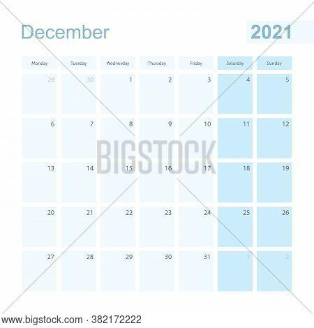 2021 December Wall Planner In Blue Pastel Color, Week Starts On Monday. Calendar For December 2021 W