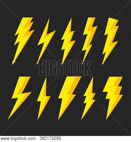 Thunder Bolt With Flash Of Lightning. Icons Of Electric. Logo Of Thunderbolt. Storm And Lightening F
