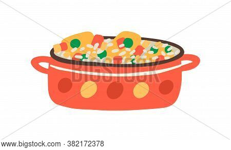 Arroz Con Pollo, Traditional Cuban, Mexican Or Spanish Dish. Paella, Risotto Cooked In Saucepan. Veg