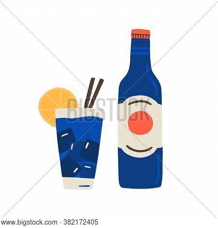 Cuban Rum Bottle, Fresh Mineral Water, Glass Of Soda, Cocktail With Ice Cubes, Lemon, Straws. Fizzy