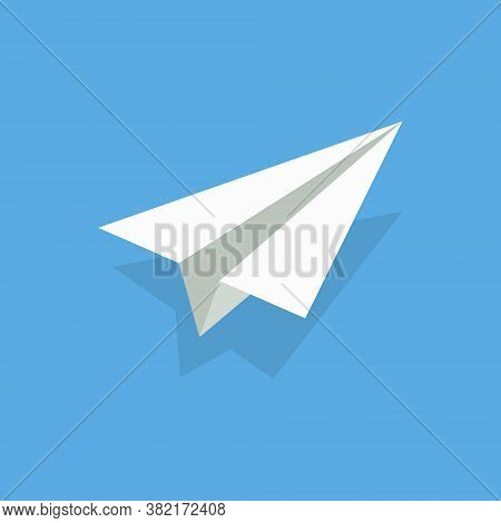 Aper Airplane. Plane Origami. White 3d Fly Aeroplane On Blue Background. Craft Of Origami. Concept O