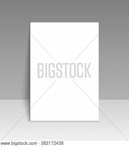 Paper Mockup Of Leaflet. Blank Template Of Letterhead Or Page. White Poster With Shadow. Empty Sheet