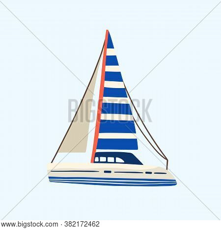 Regatta, Yacht Or Sea Sailboat Sailing In The Sea Or Ocean With Minimalistic Striped Sail. Vacation