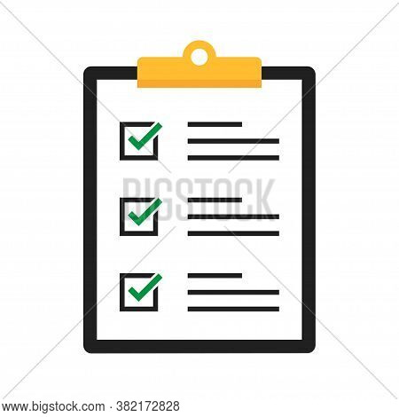 Clipboard With Checklist. Vector Isolated Illustration. Clipboard With Checklist In Cartoon Design.