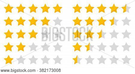 Star Rating. Five Icon For Review And Rate. 5 Whole Stars And 5 Half Of Stars For Evaluation. Rankin