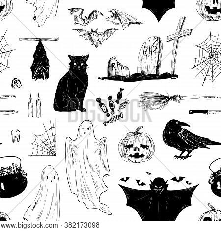 Halloween Black And White Seamless Pattern With All Saints Day Holiday Symbols. Scary Helloween Endl