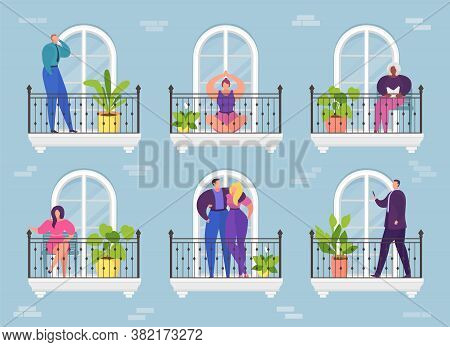 Cartoon Woman Man In Apartment Balcony, Architecture Hotel Building Vector Illustration. Home Window