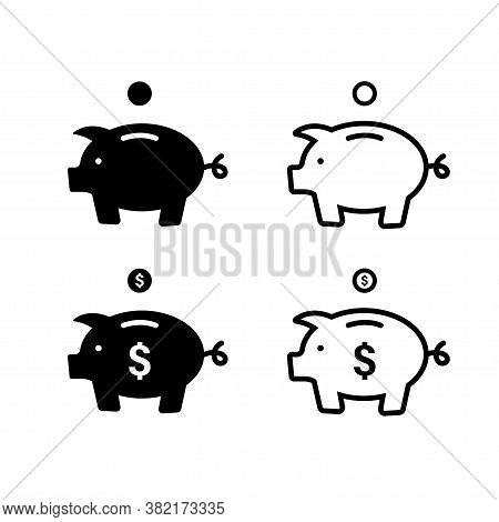 Piggy Bank Icon. Vector Isolated Pig Bang Sign. Piggybank With Falling Coins. Stock Vector.