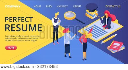 Person Manager At Job Recruitment Work, Flat Business Work Concept Vector Illustration. Search Candi