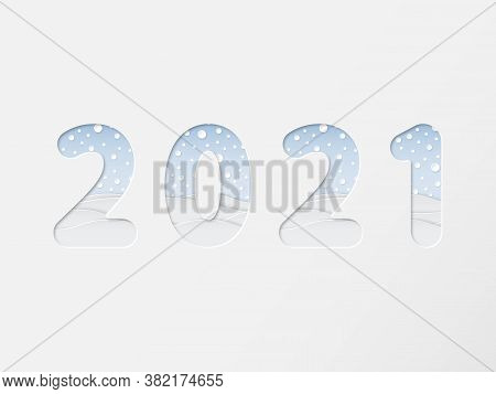 2021 Numbers In Minimal Paper Art Cut Style With Winter Landscape, Snowflake, Snowdrift, Stock Vecto