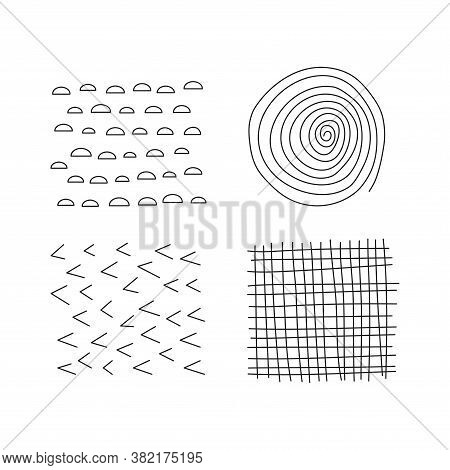 Set Of Scribble Abstract Doodle Textures Isolated On White Background. Freehand Inky Swirl, Lines, C