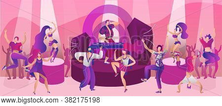 Night Club Dance Party, Vector Illustration. Disco Music For Man Woman People Character At Cartoon N
