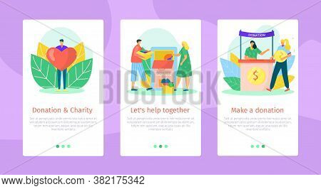 Flat Help And Support Mobile Banner Design, Vector Illustration. Social Graphic Care Concept, Charit