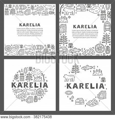 Set Of Cards With Lettering And Doodle Outline Karelia Icons Including Lake, Waterfall, Rocks, Bell