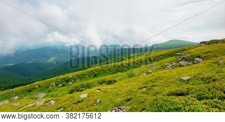 Summer Landscape Of Runa Mountain. Grassy Hills Of Alpine Meadow (polonyna). Beautiful Destination O