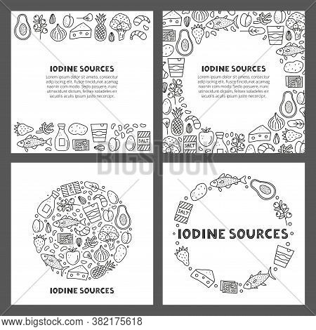 Set Of Cards With Lettering And Doodle Outline Iodine Food Sources Including Cod, Tuna Fish, Salt, B