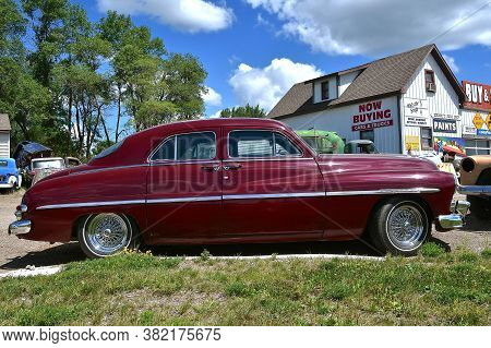 Lake Park, Minnesota, July 29, 2020: The Old Classic Car Is A Mercury, A Defunct Division Of The Ame