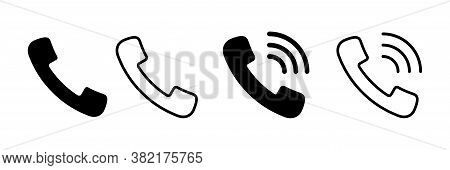 Phone Icon. Vector Isolated Signs. Phone Call, Handset Elements With Waves Isolated On White Backgro