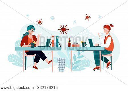 People With Coronavirus Or Flu Virus In Office Workplace - Sick Cartoon Women With Disease Symptoms