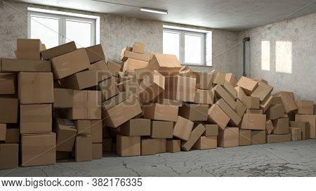 Lots of cardboard boxes in a pile in basement or storage room (3D Rendering)