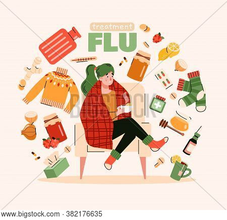 Flu Treatment Poster With Sick Person And Natural Home Remedy Objects Floating Around. Cartoon Woman
