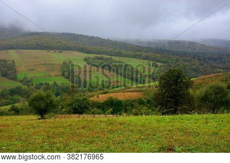 Rural Area In Mountains. Misty September Morning. Empty Fields On The Hills. Overcast Sky