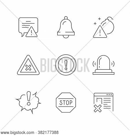 Set Line Icons Of Warnings Isolated On White. Attention Symbol, Stop Sign, Bell, Flashing Light, Web