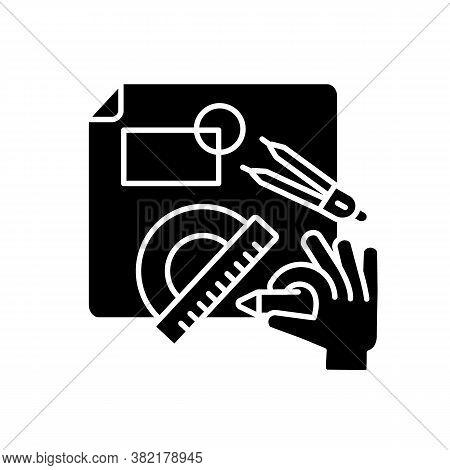 Diy Designing Black Glyph Icon. Engineering Blueprint. Technical Scheme. Handicraft Professional Ser