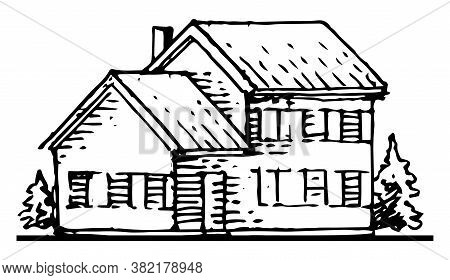 Old Rural House. Outline Hand Drawing. Isolated Vector Object On White Background. Rustic Building.