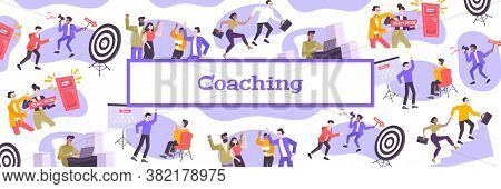 Coaching Flat Pattern With Coaches Helping People In Career Advancement Creating Team Or Start Busin