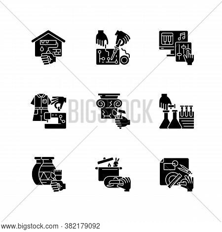 Handicraft Black Glyph Icons Set On White Space. Home Renovation. Electrical Project. Music Producti