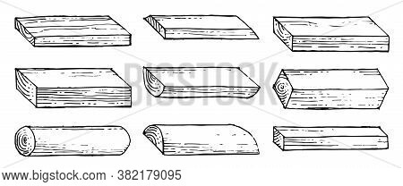 Boards, Bars, Slabs, Slats. Outline Hand Drawing. Isolated Vector Objects On A White Background. A S