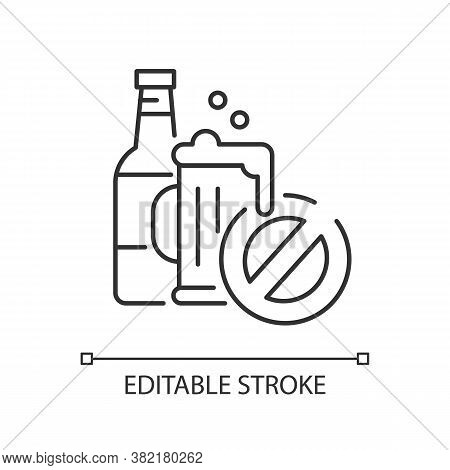 No Alcohol Linear Icon. Water Park Rule. Drinking Restriction Thin Line Customizable Illustration. C