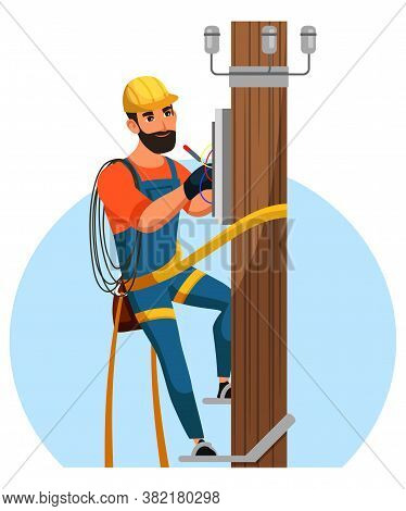 Electrician Repairing City Electrical Installation. Man In Helmet And Uniform Climbing On Wooden Pos