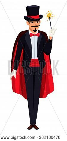 Magician In Tailcoat, Hat, Glove And Cloak. Wizard Performing With Glowing Sparkling Magic Wand. Ill