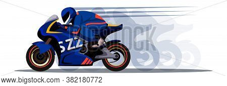 Motor Speed Racer Driving Bike. Extreme Speeding Motorcycle. Man Character In Sportswear On Motorbik