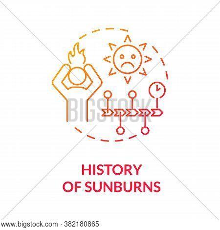 History Of Sunburns Concept Icon. Skin Cancer Risk Factors. Ultraviolet Radiation Burn. Excessive Su