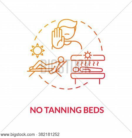 No Tanning Beds Concept Icon. Ultraviolet Sunbeds. Melanoma Prevention. Skincare. Solarium Machine I