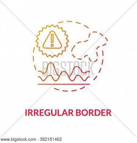 Irregular Border Concept Icon. Atypical Mole Borders. Diagnostics. Skin Cancer Diagnostics. Melanoma